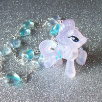 Crystal Rarity - Iridescent Pastel Hearts and My Little Pony Rarity Charm Necklace from On Secret Wings