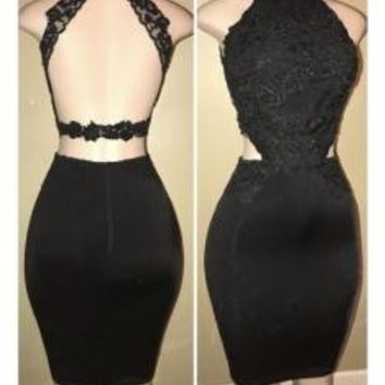 Black Lace Halter Backless Bodycon Homecoming Dresses with Applique