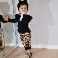 New 2017 autumn baby girl clothes cotton long-sleeved t-shirt+Leopard pants infant 2/pcs newborn toddler baby girls clothing set
