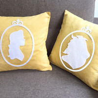 Beauty And The Beast Silhouettes Cameo Yellow Decorative Pillow Covers Set Cushion Cover Set. Fairy Tale Pillow Case. Unique Engagement Gift