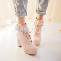 Spring and autumn cosplay shoes lourie vintage high-heeled martin boots thick heel platform lolita ankle boots shoes