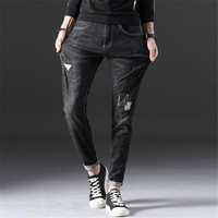Mens Casual Jogger Long Jeans Homme Skinny Destroyed Ripped Denim Pants Male Slim Fit Straight High Stretch Jeans AA11429