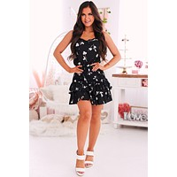 Everywhere You Go Smocked Ruffle Dress (Black)