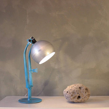 Desk lamp, table lamp, bicycle gift lamp, upcycle lamp, bike art lamp, table lamp blue, ooak lamp, designer light, bicycle parts, art light