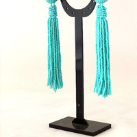 Long tassel earrings -clip on earrings in turquoise statement seed beads earrings- dangle earrings -bridesmaid earrings, beadwork