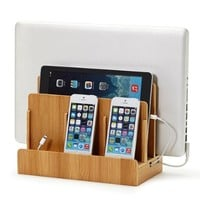 G.U.S. Multi Device Charging Station - Original Electronics Charging Station & Organizer for Laptops, Tablets, Smartphones & Other Gadgets - Strong Build of 100% Eco Bamboo