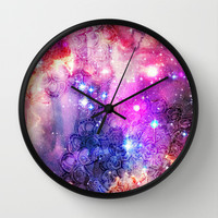 Doodles in Deep Space Wall Clock by micklyn
