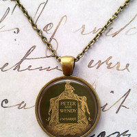 Peter Pan Necklace, Once Upon a Time, Fairy Tales, Green, Book Cover, Tinkerbell, Neverland T265