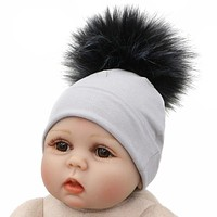 born Baby Hat Faux Raccoon Fur Pompom Beanie Hats Cotton Solid Hat For Baby Girls Boys Toddler Winter Children Hats Caps