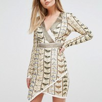 Starlet Plunge Front Mini Dress with Wrap Skirt in All Over Embellishment at asos.com