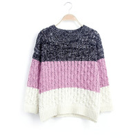 Women's Round Collar Long Sleeves Triple Colors Sweater
