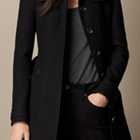 Leather Detail Military Coat