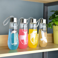 480ML Animal Print Leak Proof Glass Water Bottle
