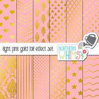 Pastel Pink and Gold Digital Paper Pack – gold foil effect papers for scrapbooking, invitations, web backgrounds – instant download – CU OK