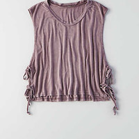 Don't Ask Why Side-Tie Muscle Tank, Purple