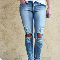 5th Avenue Extreme Faded Blue Skinny Distressed Jeans