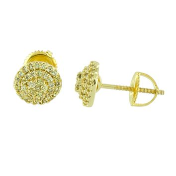 14K Yellow Gold Finish Earrings Simulated Diamonds Canary Screw Back 8 MM
