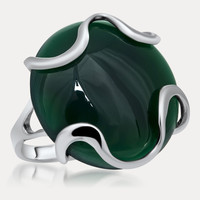 925 Silver Ring with Green Chalcedony