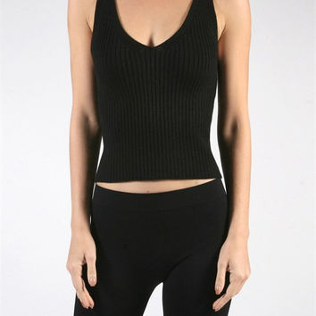 Ribbed Knit Crop Top - Black