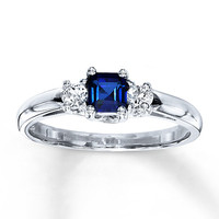 Lab-Created Sapphire Ring Square-cut 10K White Gold