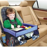 THS Foldable Safety Baby Car Seat Table Kids Play Travel Tray Drawing Board Waterproof (Size: 40cm by 32cm by 21cm)