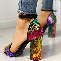 New sexy thick-heeled high-heeled sandals with color sequins and one word buckle women's shoes