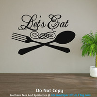 Personalized Word Art Vinyl Wall Decal Sticker Let's Eat Family Dinner Dinner Table Food Kitchen Cooking