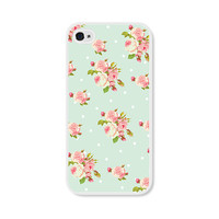Floral Apple iPhone 4 Case - Plastic iPhone 4s Case - Pastel Mint Green, Coral and Pink iPhone Case Skin - Cell Phone Floral iPhone Case