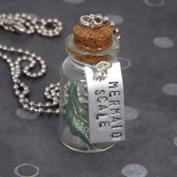 Mermaid Scale Fantasy Potion Bottle Jewelry Necklace - Ball Chain, Multiple Colors