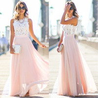 Women Sexy Summer Lace Maxi Long Dress Evening Party Prom Dress Sundress Chiffon Dress [9222478660]