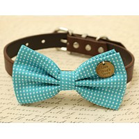 Blue Dog Bow Tie Collar, Live Love Laugh, Pet Wedding accessory