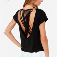 LULUS Exclusive Crisscross Awesome Sauce Black Top