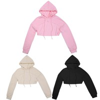 2017 Women's Cut out Crop Tops Hooded Sweatshirts Casual Pullovers Front Hollow Casual Hoodies Jacket 3 Solid Colors
