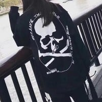 """""""Philipp Plein"""" Women Fashion Personality Skull Letter Print Loose Long Sleeve Thickened Pullover Sweater Tops"""