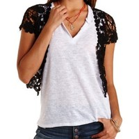 Crocheted Lace Shrug Cardigan by Charlotte Russe