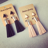 Vintage Triangle Tassel Drop Earrings Faux Suede Fabric Long Dangle Earrings for Women 2A3006