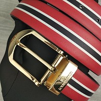 Louis Vuitton LV hot sale simple pin buckle personality red-black stripe belt fashion men's and women's belts