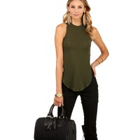 Olive What's Hot Rib Slit Top