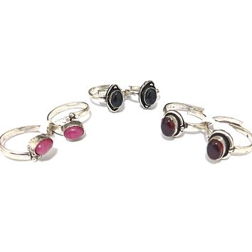 Oxidized adjustable Toe Rings with colored stone