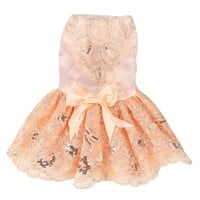 Dog Sequins Lace Embroidered Dress