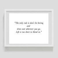 Inspirational typographic print- elegant wall decor - the only rule is quote - art print poster - typography - digital - fashion quote