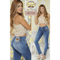 Medium blue butt lifting jeans with lower ankle design.