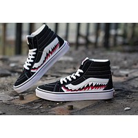 BAPE x Vans Old Skool Custom SHARK MOUTHS Mid Sneakers Convas Casual Shoes SK8-HI