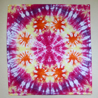 """Extra Small Tie Dye Mandala Wall Tapestry; Pink, Orange, and Purple 27""""x25"""" Cotton Tapestry Art"""