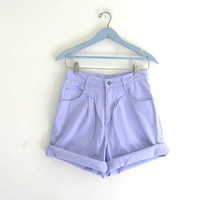 Vintage 80s purple shorts. high waisted shorts. denim shorts. size 8
