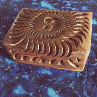 Yin Yang Wooden Carving Box - hippie box, boho trinket box, solid wooden carved box