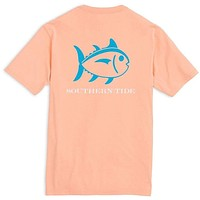 Beachside Outline Skipjack Tee Shirt in Peach Fizz by Southern Tide