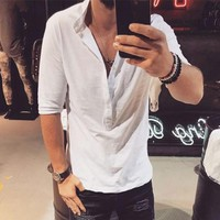 Fashion Men's Henley Shirts Half Sleeve Solid Color Men Shirts Casual Shirt Men Clothing Slim Fit Autumn Spring Camisa Hombre