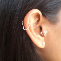 Open Heart Helix Earring - Sterling Silver Gold Rose Gold Filled Body Jewelry - Cartilage Rook Tragus - Open Heart