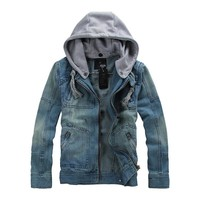 Trendy YuWaiJiaRen M-5XL Denim Jacket Men Hooded Sportswear Outdoors Casual Fashion Jeans Jackets Hoodies Cowboy Mans Jacket and Coat AT_94_13